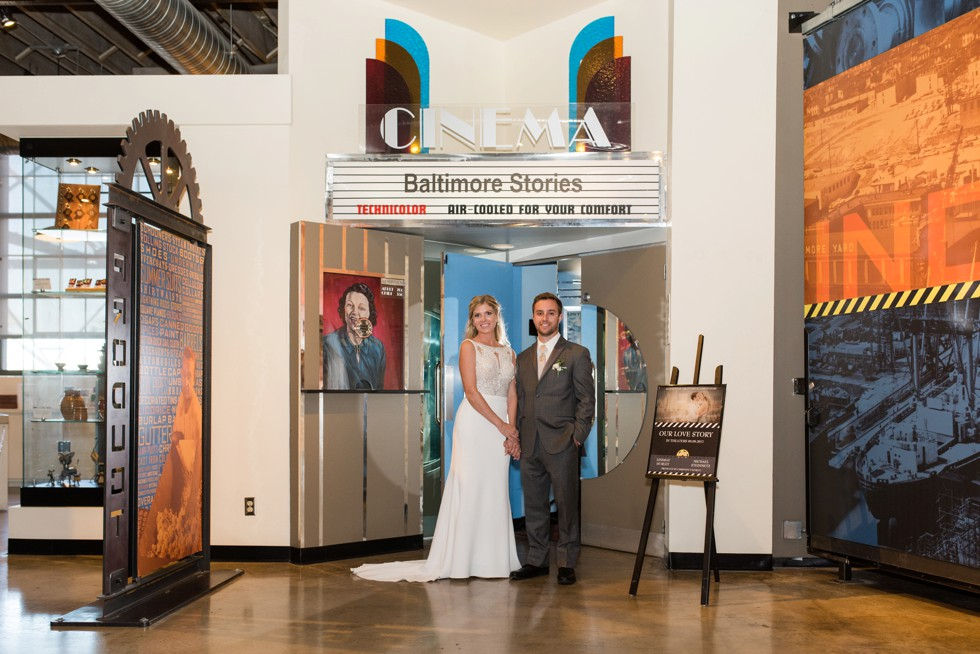 Newlyweds in front of their movie at baltimore museum of Industry