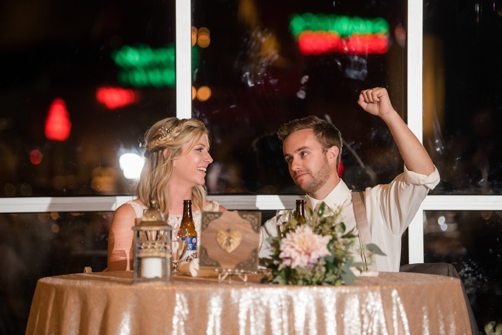 Toasts to the bride and groom at Baltimore Museum of Industry