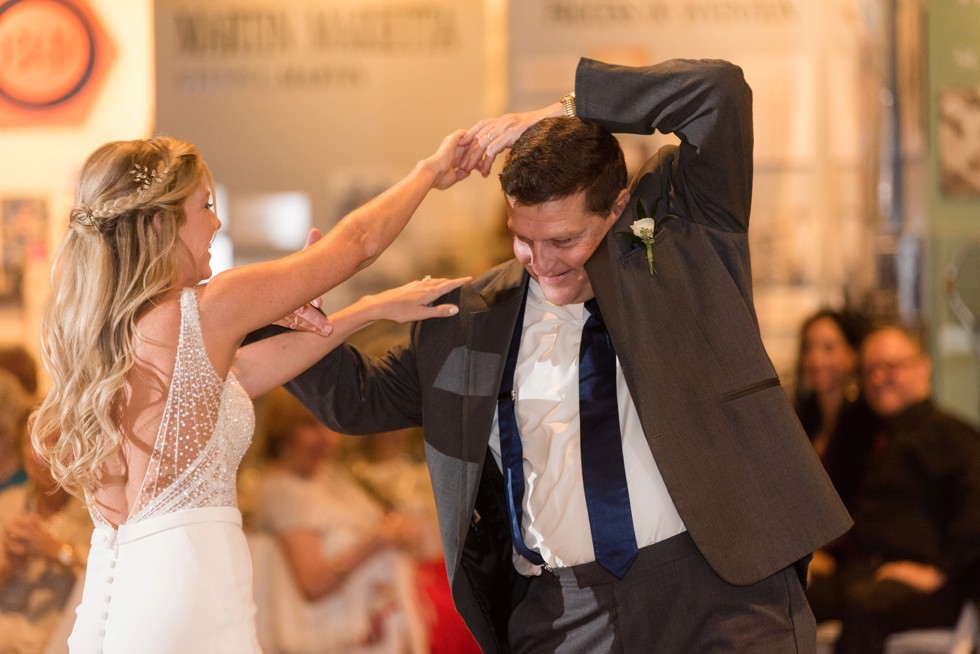 Father daughter dance twirling in her Martina Liana wedding dress