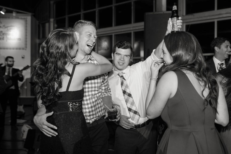 Wedding reception dance party to Bachelor Boys Band