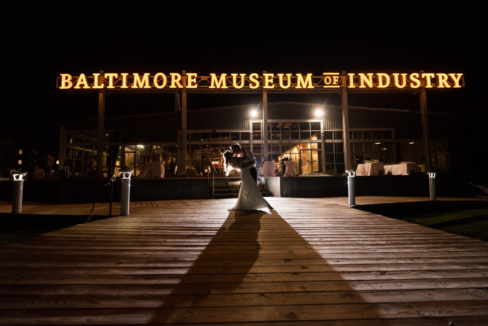 Baltimore Museum of Industry night photo of the newlyweds