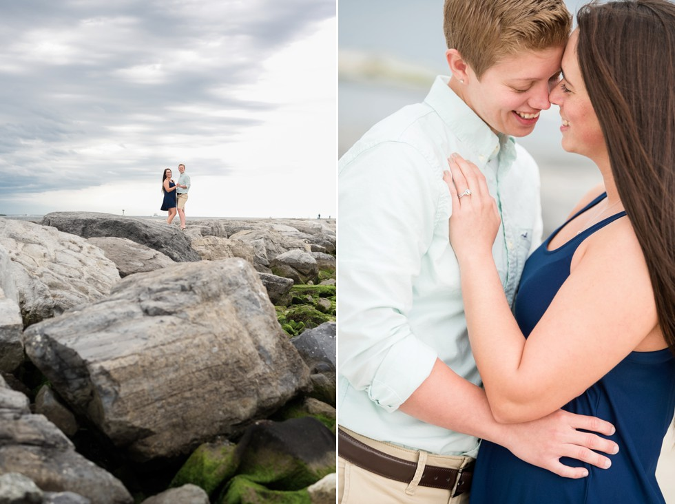 Barnegat Lighthouse proposal photos on the rocks at the Jersey Shore