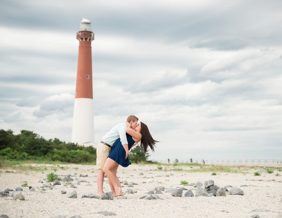 Two brides proposal photos on the Jersey Shore of Barnegat Lighthouse