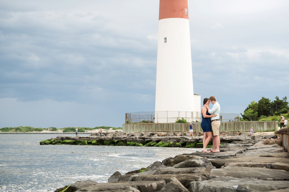 Engagement photos of two brides at the Barnegat Lighthouse