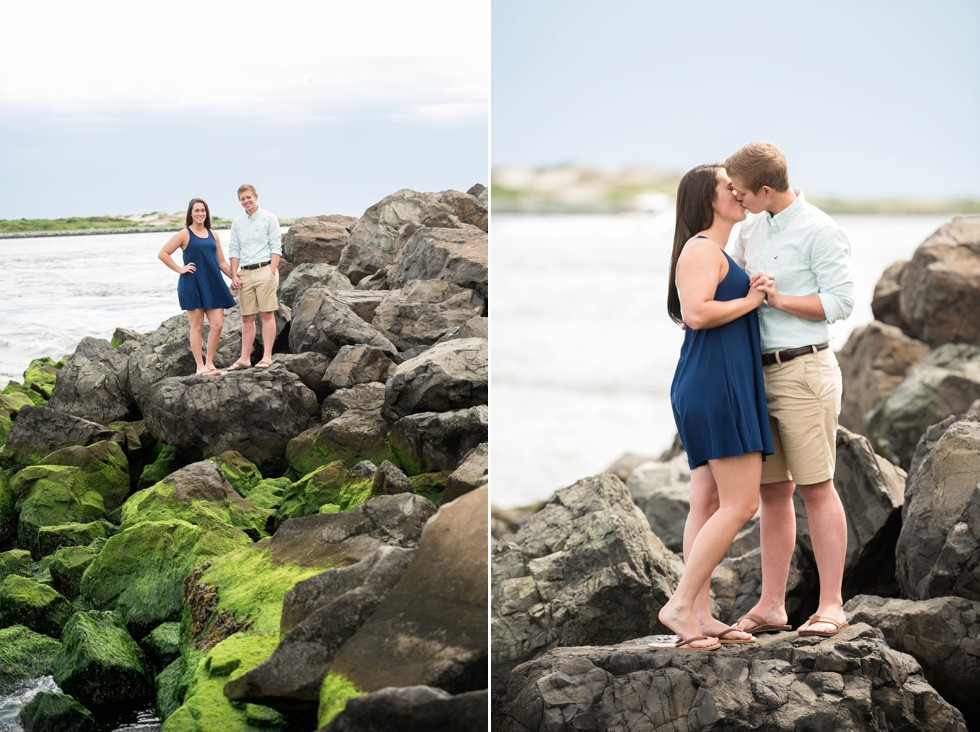 Proposal photographer at Barnegat Lighthouse rocks