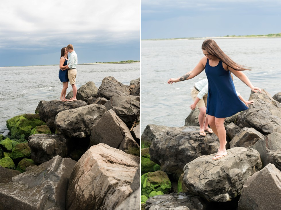 Lesbian Proposal photographer at Barnegat Lighthouse rocks