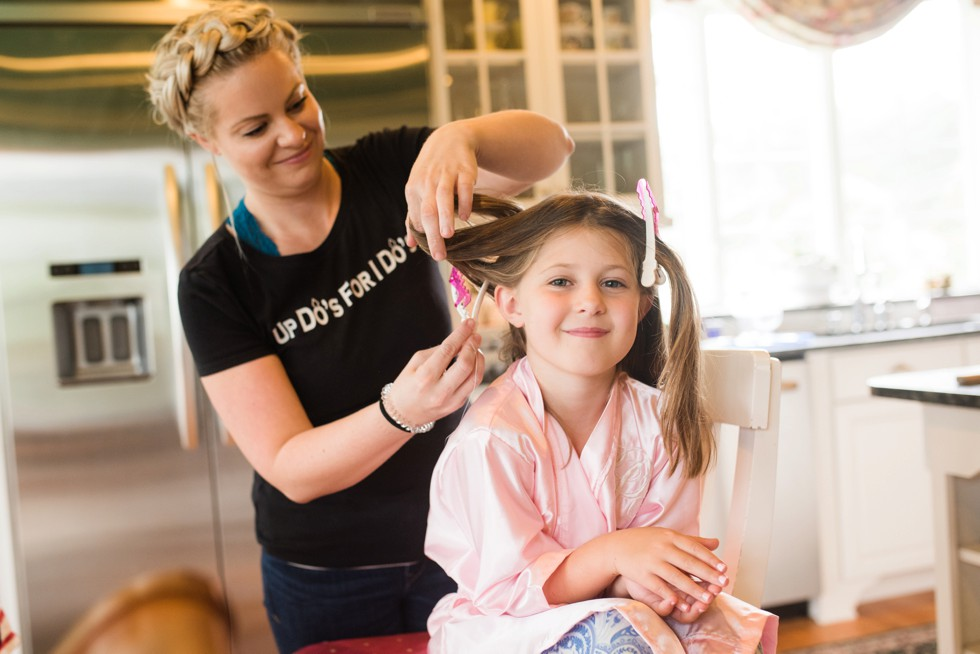 Up Dos For I Dos flower girl hair candids at home getting ready for a wedding at Elkridge Furnace Inn