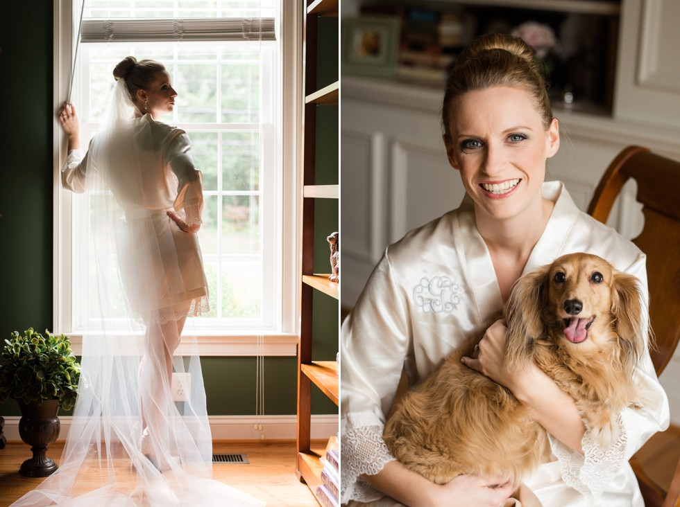 Bridal portrait with brides dog at home