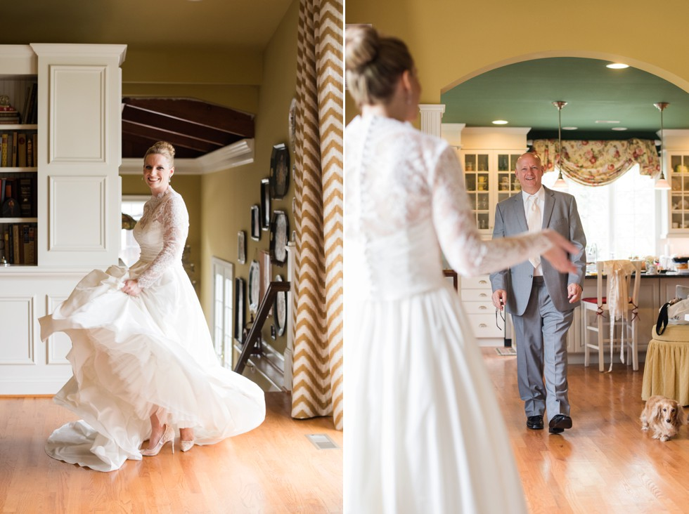 Brides first look with dad in her WTOO by Watters strapless wedding dress with lace coverlet