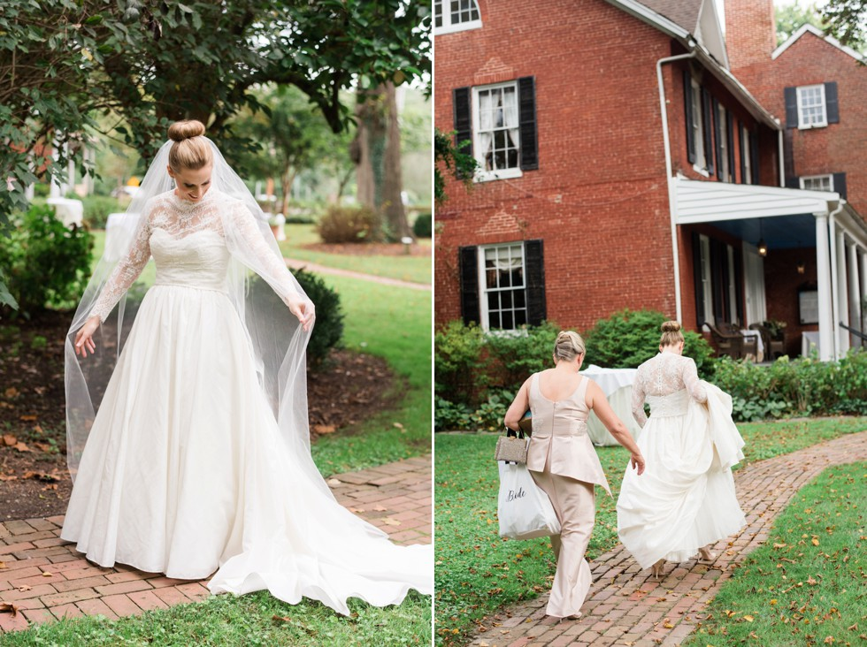 Bridal portraits in WTOO by Watters strapless wedding dress with lace coverlet