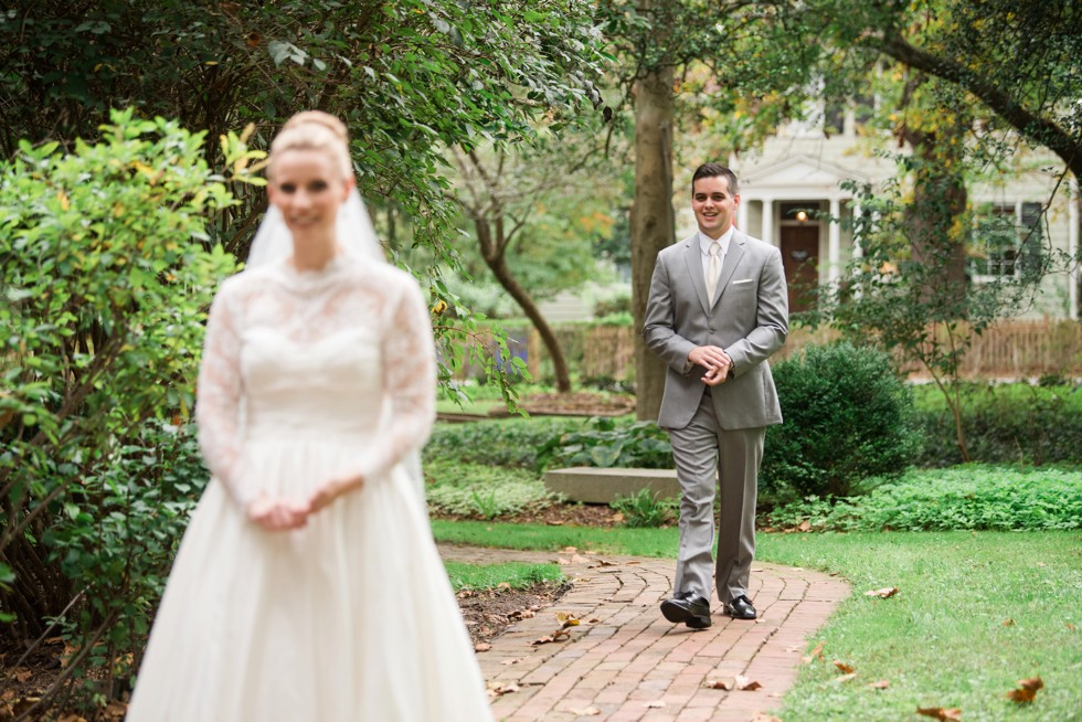 First look with bride and groom at the Elkridge Furance Inn Maryland