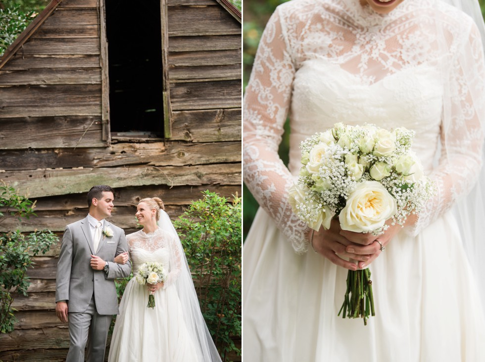 Grey mens tux and WTOO by Watters bridal dress in front of wood cabin at Elkridge Furance Inn