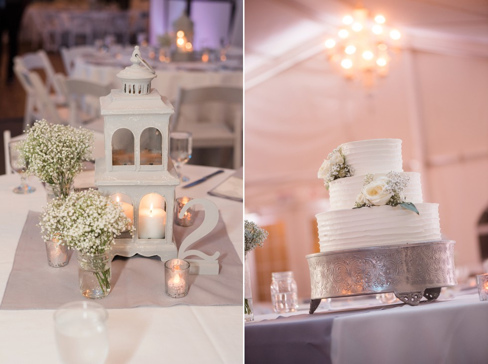 White and grey reception details at Elkridge Furnace Inn tented wedding