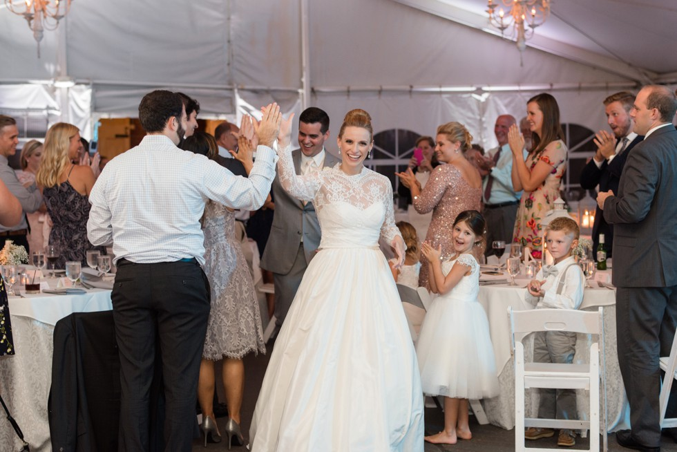 Reception Introductions at Elkridge Furnace Inn tented wedding