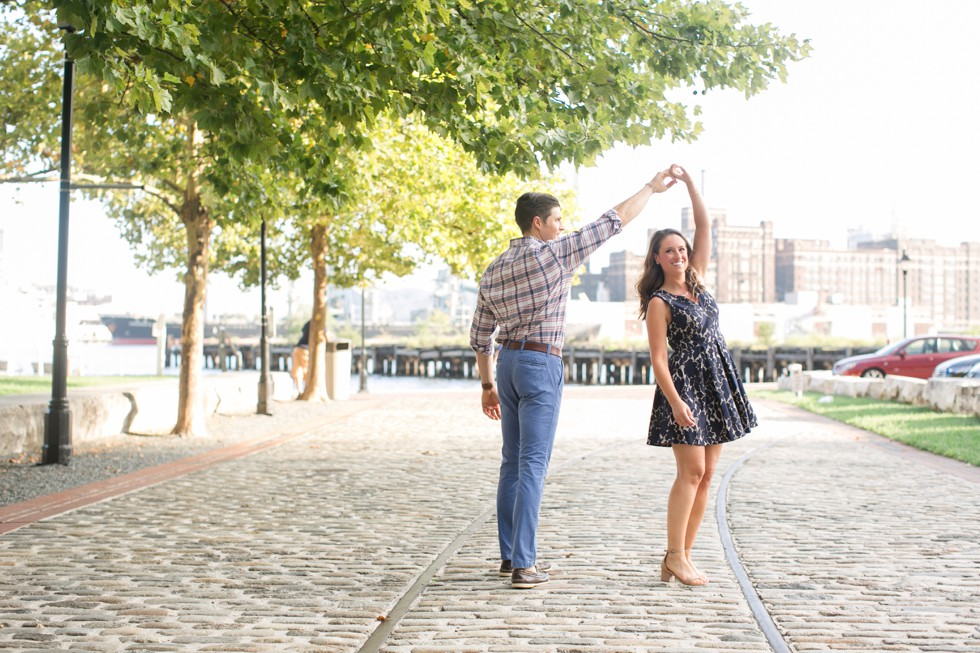cobble stone and navy lace dress for engagement photos