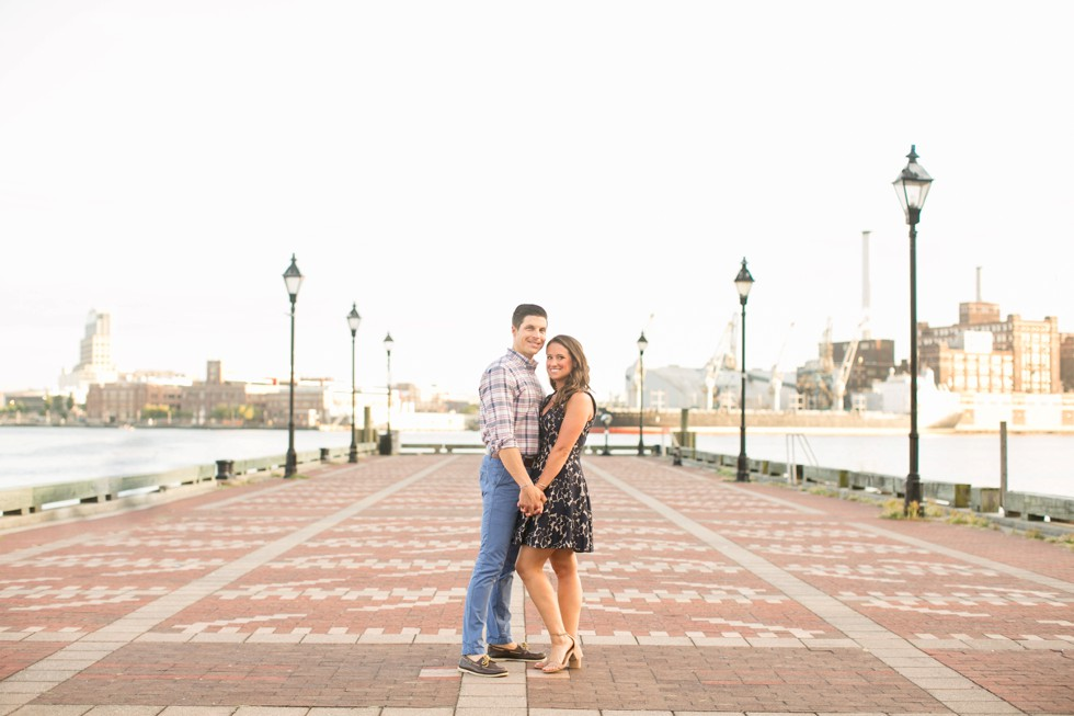 Fells Point engagement photos of girl in navy lace dress