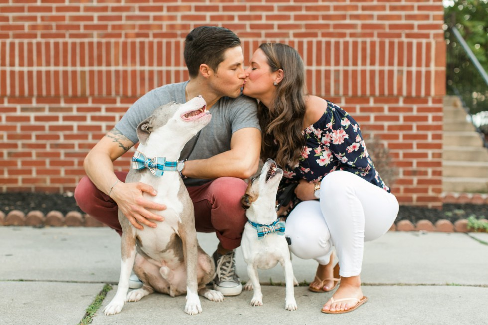 Engagement photos with your pets in Fells Point