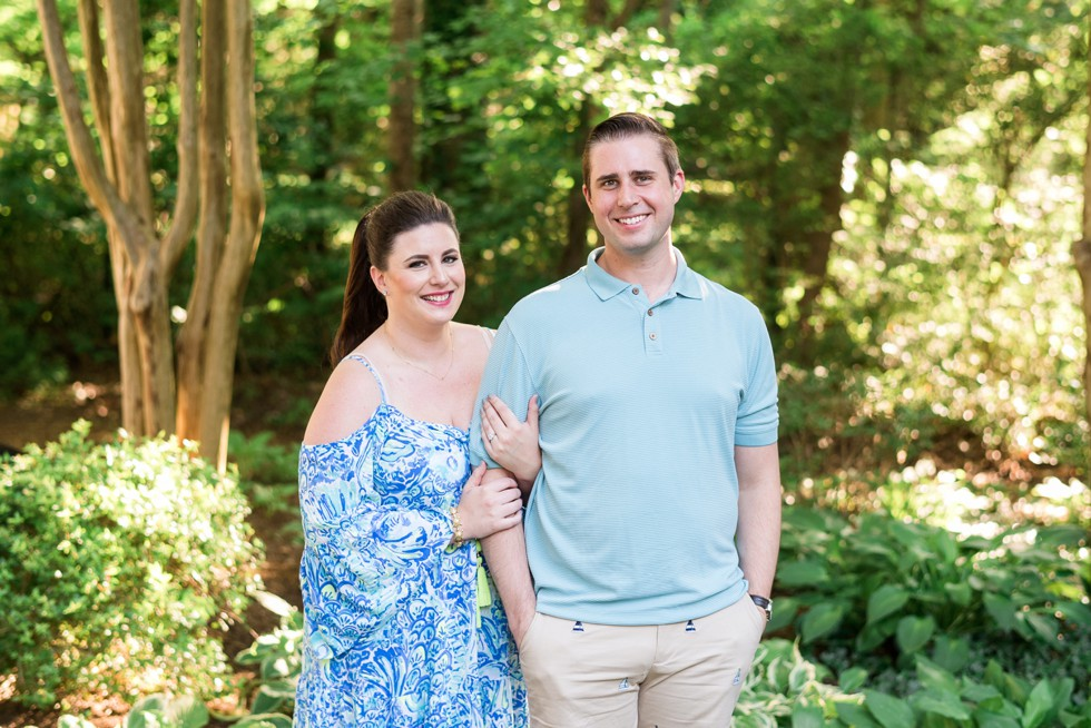 Sunset engagement photos in the trees near Annapolis