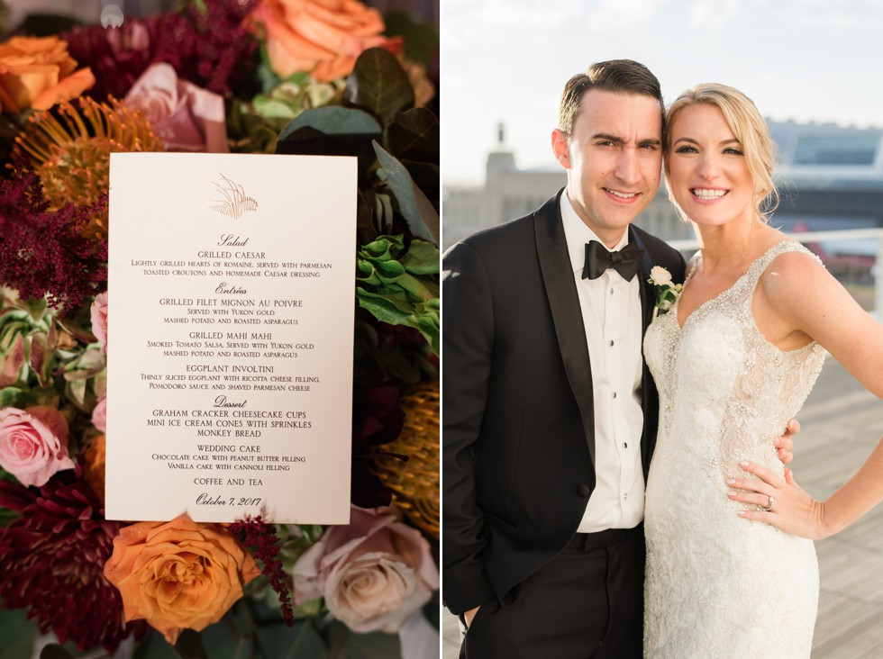 Bride and groom at One Atlantic Wedding venue florals by Manic Botanic