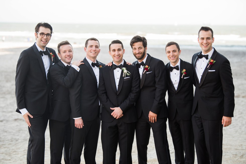 Groom and Groomsmen on the beach at One Atlantic on New Jersey Shore