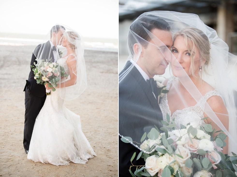 Veil over the bride on the beach in Atlantic City NJ