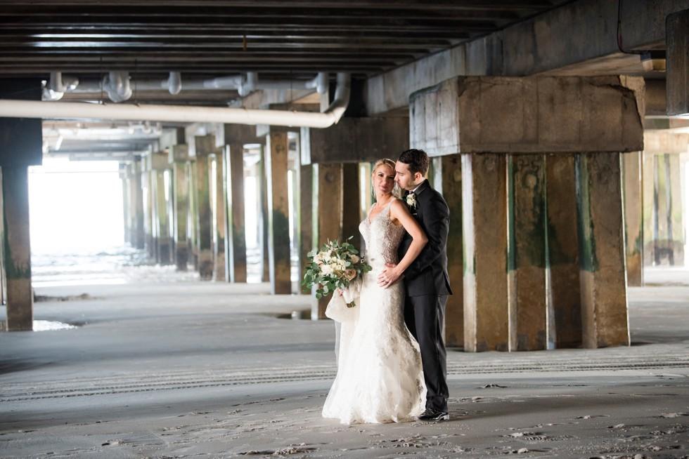 NJ Shore Wedding couple under the One Atlantic Pier