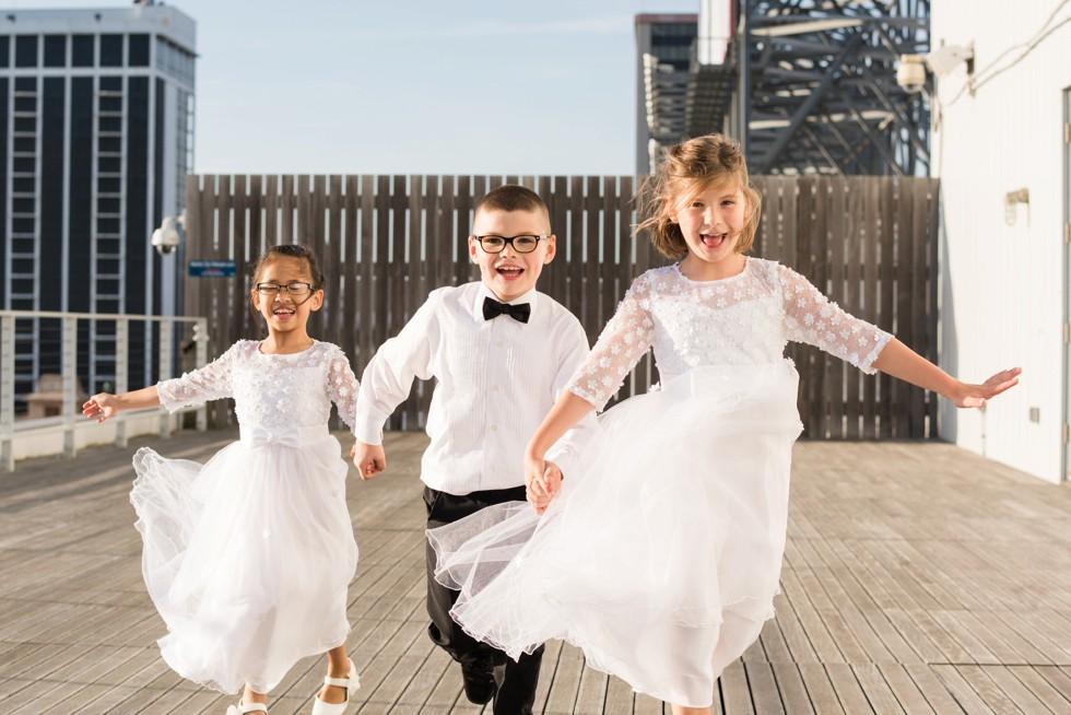 kids running on the ceremony platform at One Atlantic NJ