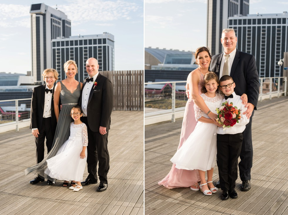 Family portraits overlooking Atlantic City Boardwalk on ceremony platform at One Atlantic NJ