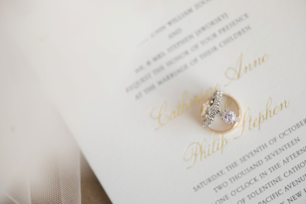 Alpine Creative Group gold and white wedding invitation engagement ring detail from Golden Nugget Jewelers