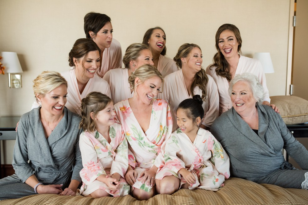 Sheraton Hotel Atlantic City New Jersey bridal party in matching robes
