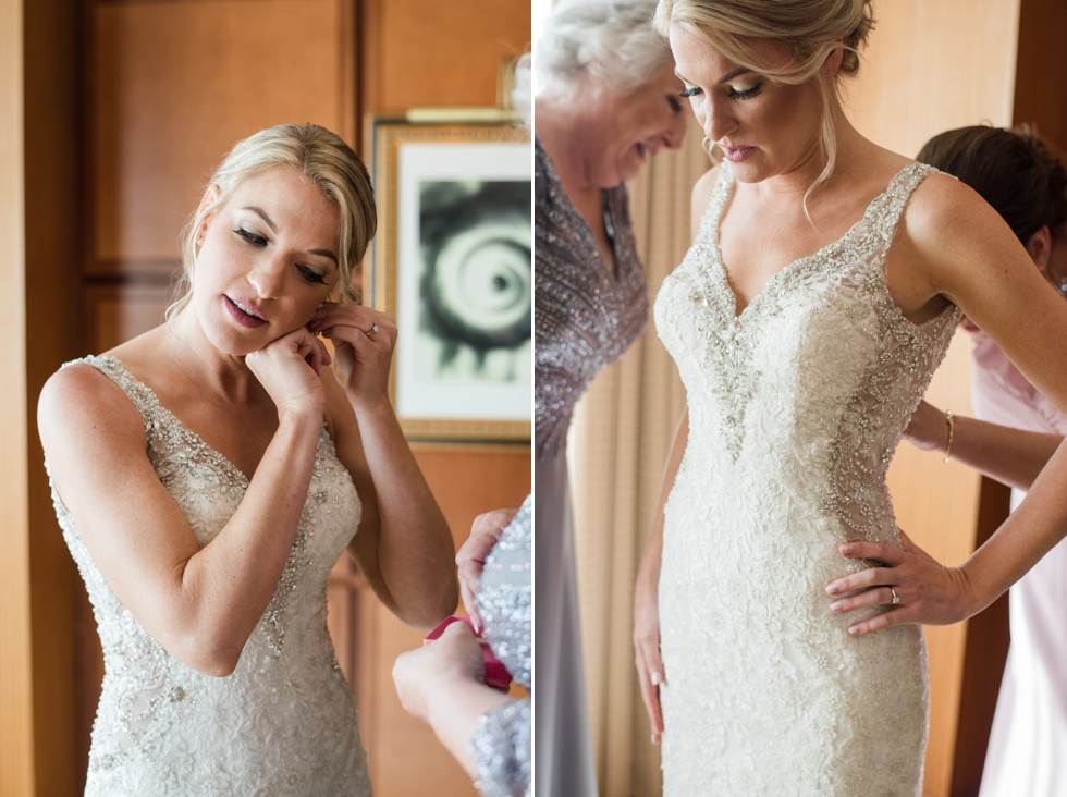 Bride getting in her Allure Bridal dress at Sheraton Hotel Atlantic City New Jersey