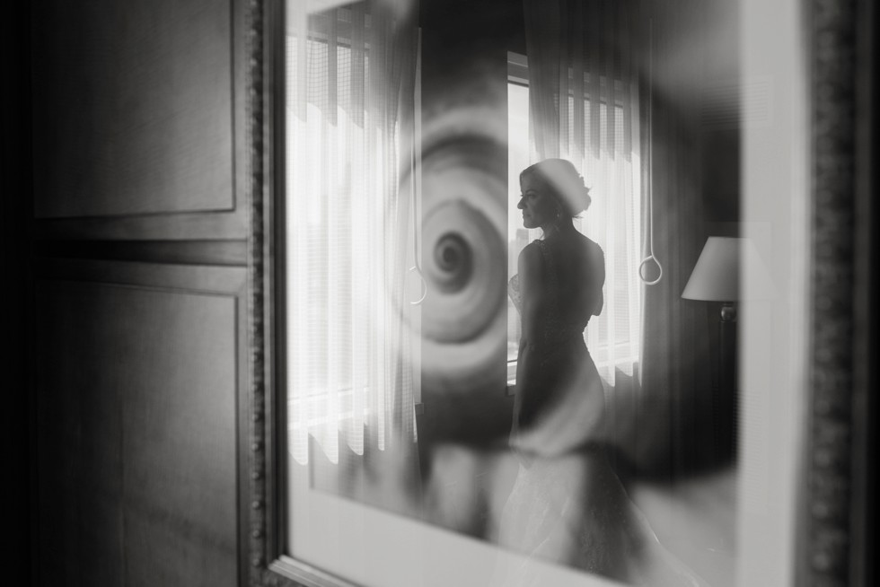 Bride in dress reflection at Sheraton Hotel Atlantic City New Jersey