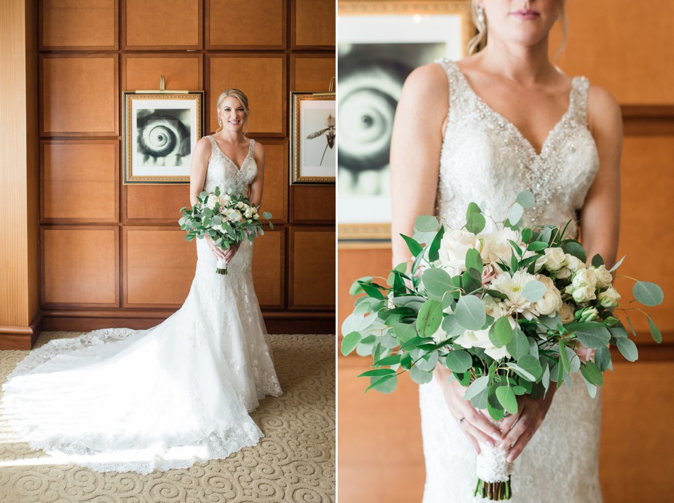 Bride getting in her Allure Bridal dress at Sheraton Hotel Atlantic City New Jersey Green and white flowers from Manic Botanic
