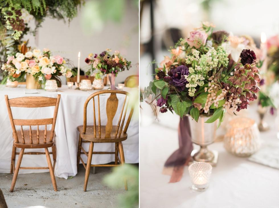floral display on wedding table