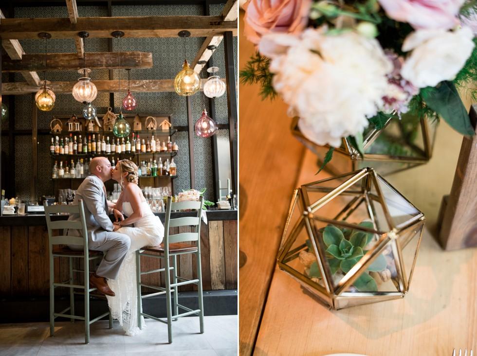 wedding flower details in talula's restaurant