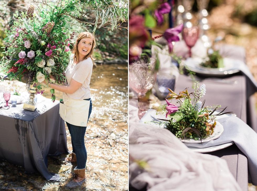 Jennifer Designs setting up floral design
