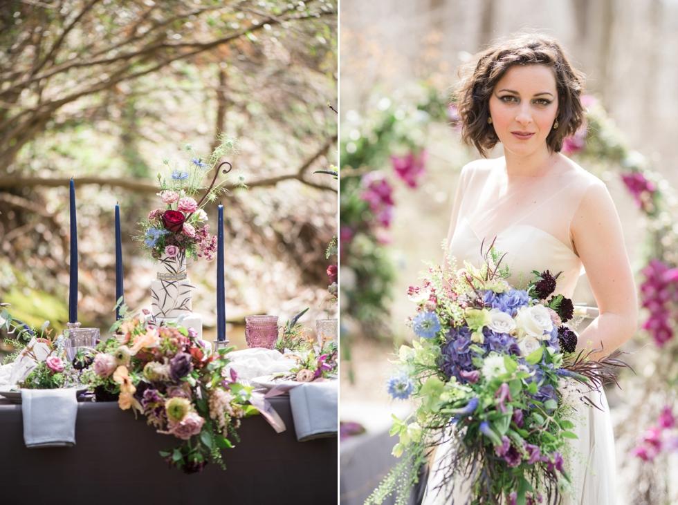 bride holding bouquet by floral art