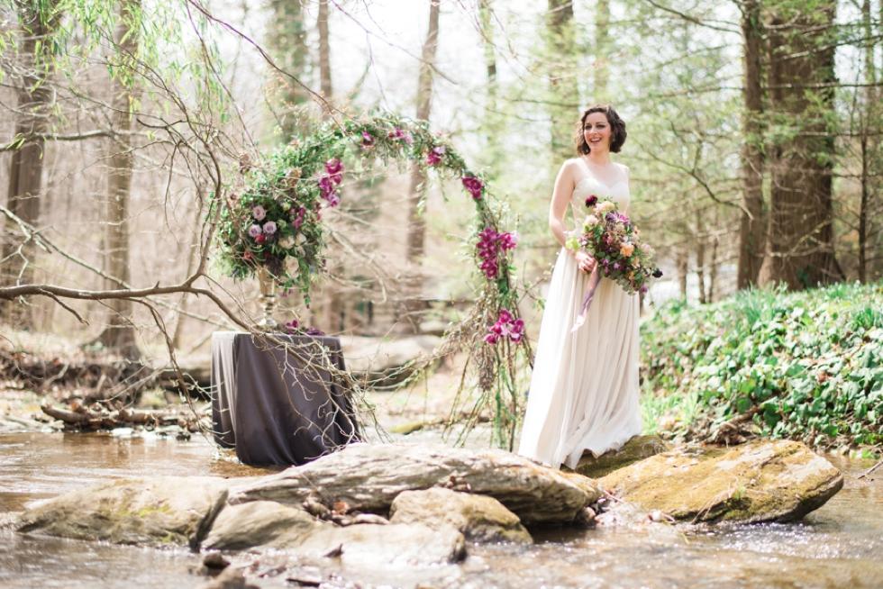 bridal portrait with floral art and bouquet