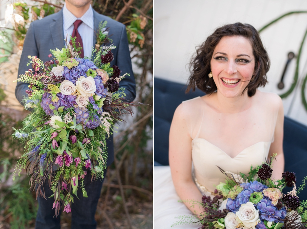 bride and groom with bouquets