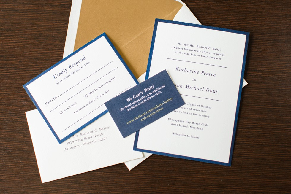 paper Source Invitations for gold and navy nautical wedding