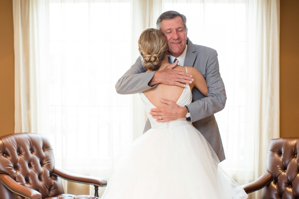 Dad's first look with the bride at The Inn at the Chesapeake Bay Beach Club