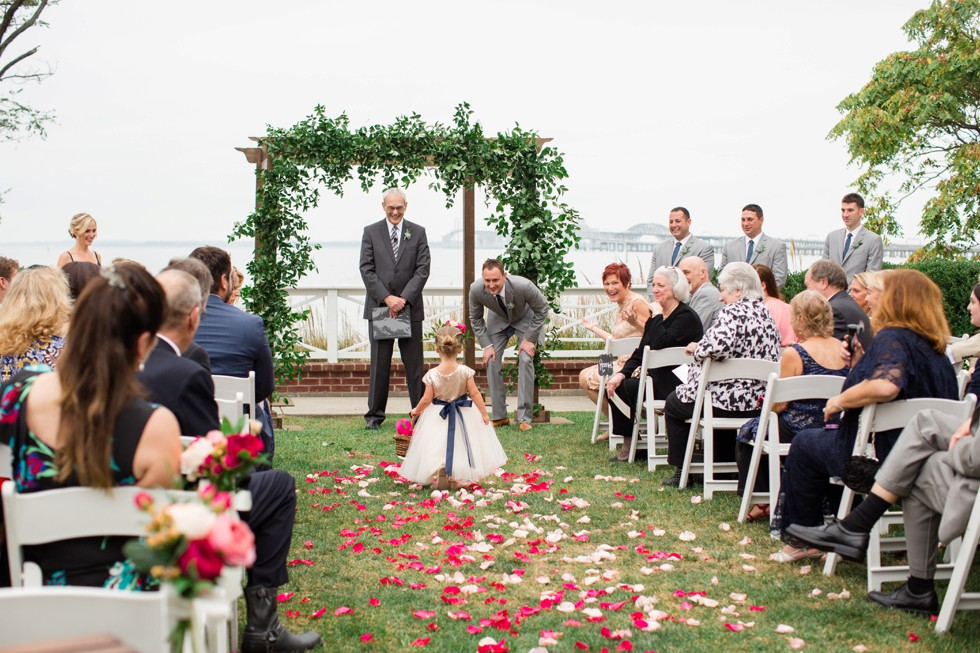 outdoor Fall wedding ceremony on the Chesapeake Bay Bridge