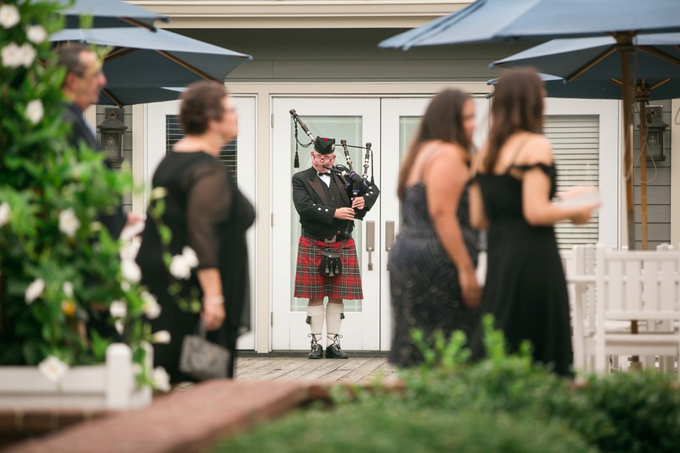 bag pipes at the Chesapeake bay Beach Club outdoor ceremony