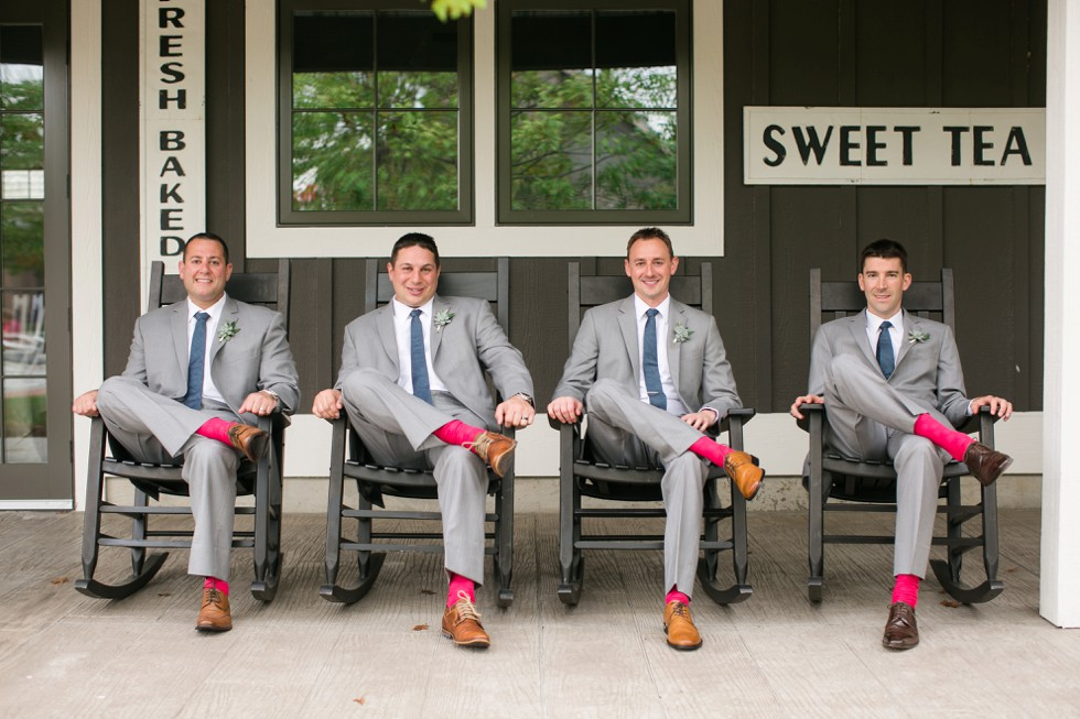 Groom and groomsmen relaxing at The Inn at the Chesapeake Bay Beach Club