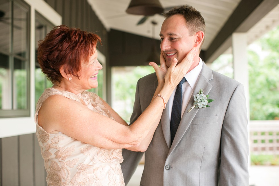 Groom and his mom boutonniere by Floral and Bloom Designs