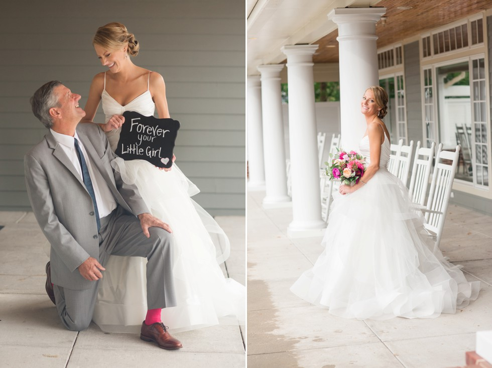 Bride and her dad with Forever your little girl sign