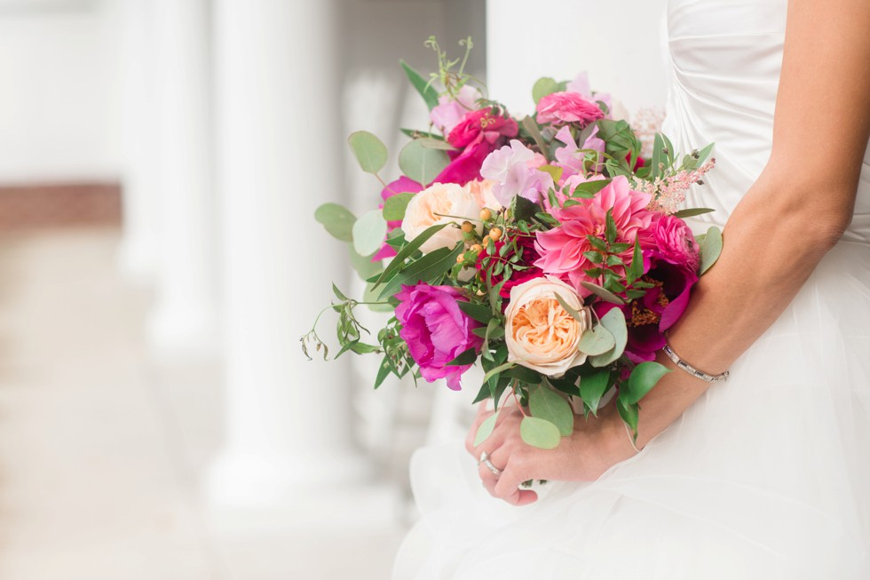 Brides bouquet bright pink flowers from Floral and Bloom Designs
