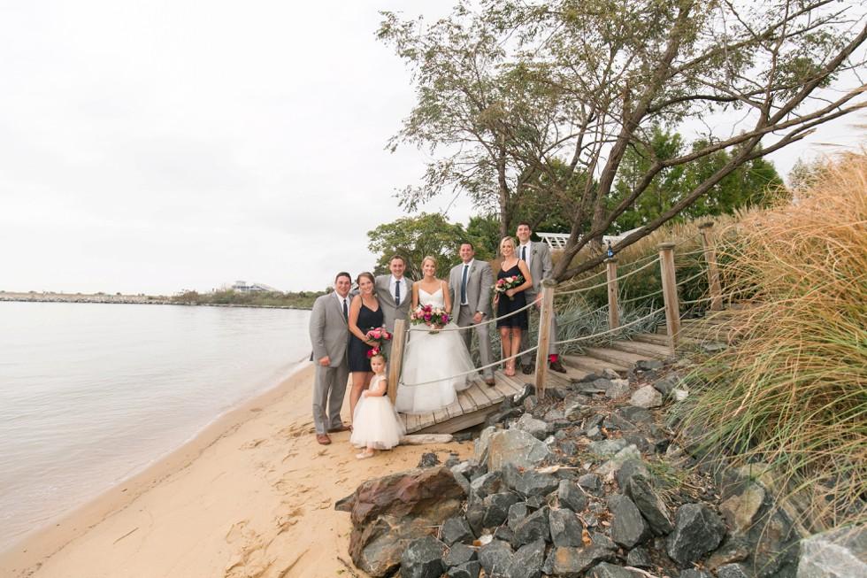wedding party on the beach at the Chesapeake Bay Beach Club Wedding