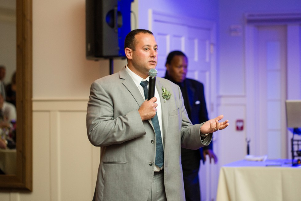 Toasts during the reception in the Beach House Ballroom at the Chesapeake Bay Beach Club