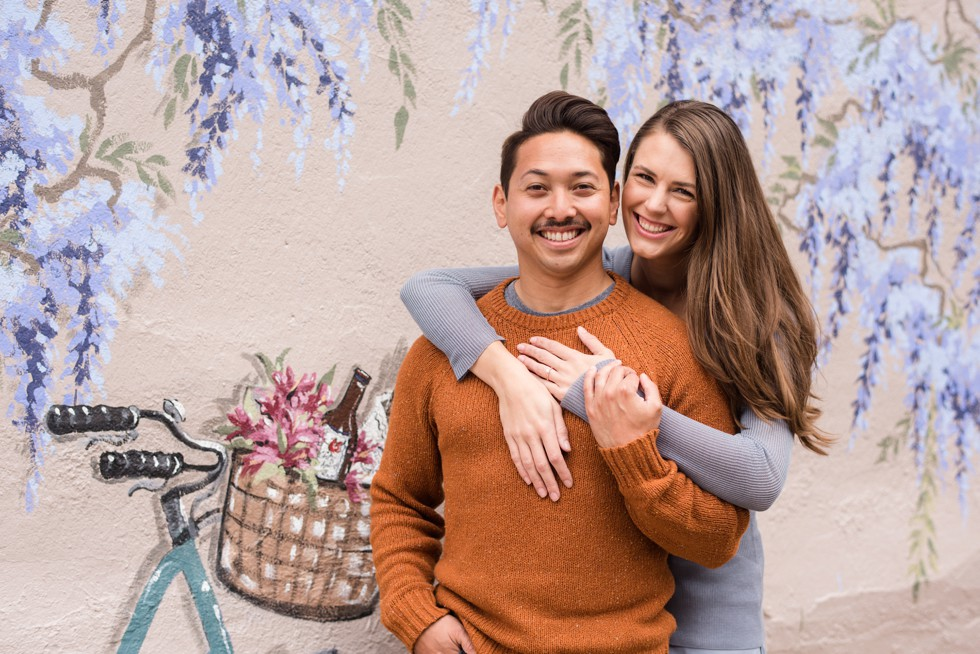 engagement photos on mural in Annapolis Maryland